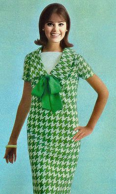Colleen Corby Houndstooth Dress, 1960's fashion - ok now we have bad houndstooth in one of my least favorite colours.