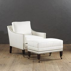Griffin Chair and Ottoman with Aged Brass Nailheads, 1000-1500