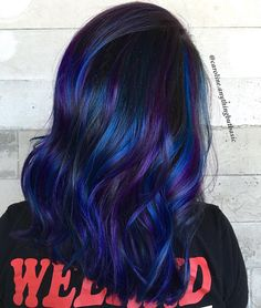 Blue and purple highlights