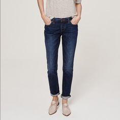 Boyfriend Jeans Ann Taylor Loft Boyfriend jeans. Dark wash. Button up, no zipper. Rolled cuffs. Never worn. LOFT Jeans Boyfriend