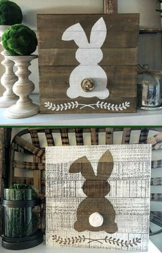 Adorable! This rustic bunny would be perfect for my Easter decor mantel! #easter #ad #springdecor #rustic #farmhouse
