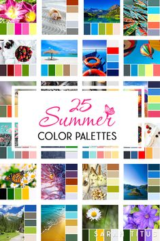 25 Summer Color Palettes (Sarah Titus ~ Saving Money Never Goes Out of Style) Summer Color Palettes, Color Schemes Colour Palettes, Summer Colors, Color Combos, Color Trends, Beach Color, Color Psychology, Colour Board, Color Pallets