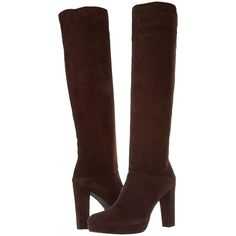 Pre-owned Stuart Weitzman Crushable Knee High Timber Brown Suede... ($200) ❤ liked on Polyvore featuring shoes, boots, black, brown platform boots, brown boots, brown knee high boots, black knee-high boots and suede boots