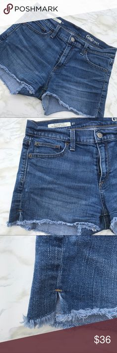 Gap Cutoff High Waisted Cheeky Jean Shorts Size 27 Nothing says summer like a pair of Cutoff Jean Shorts and Gap makes some of the best. These Medium wash shirts are soft and comfortable with just enough stretch to make them easy to wear all day. Layer them with tights and boots in the fall for a real 90's look! Preowned from a smoke free home, in excellent used condition. Check out the rest of my closet to create your own custom bundle. GAP Shorts Jean Shorts