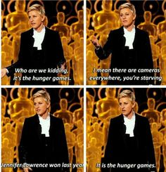Ellen on how the Oscars are like the Hunger Games SHE IS THE BEST HOST EVER
