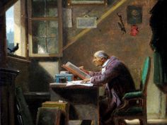 Carl Spitzweg.   Una visita. Carl Spitzweg, Blog, Images, Birds, Drawings, Painting, Window, Art, Pintura