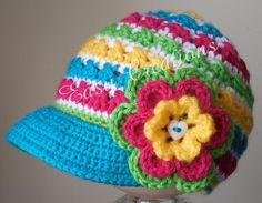 Newsboy twist-up hat PDF Crochet Pattern by Easy Creations. Crochet Kids Hats, Crochet Cap, Crochet Beanie, Crochet Crafts, Crochet Hooks, Crochet Projects, Knitted Hats, Knitting Patterns, Crochet Patterns