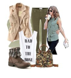 """""""Bad to the Bone"""" by irdina-n ❤ liked on Polyvore featuring Paige Denim, H&M, b.o.c. Børn Concept, Lucky Brand, eleanorcalder and army"""