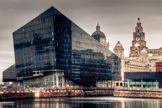 Modern Liverpool by the docks Liverpool Town, Liverpool Docks, Liverpool History, Liverpool England, Beatles, Photography Portfolio, Travel Photography, Black Building, Merchant Marine
