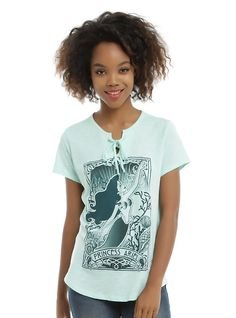 Disney The Little Mermaid Ariel Lace-Up Tarot Card Girls T-Shirt, MINT GREEN