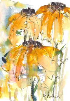 Kathleen McElwaine - Artist: 7 x 5 Watercolor Painting abstract SunFlowers Start creating your own custom hand painted leather hand bag here. Watercolor Pictures, Watercolor And Ink, Watercolor Flowers, Sunflower Watercolour, Paint Flowers, Sun Flowers, Watercolor Tattoos, Gold Flowers, Painting & Drawing