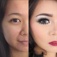 """These Insta-Makeovers Will Make You Insta-Impressed #refinery29  http://www.refinery29.com/best-instagram-makeup-transformations#slide-5  It's easy to focus on the eyes here — the lashes, the white shadow, and the contacts make them appear so much bigger in the """"after"""" photo. But, it's this lady's skin we can't stop looking at: How did foundation pull that off?"""
