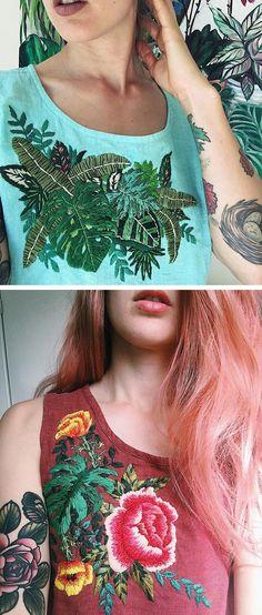 Embroidered clothing by Sam Eldridge // upcycled clothing // DIY embroidery ideas
