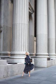 stylekeepers navy dot maxi dress, rent the runway, blush velvet heels