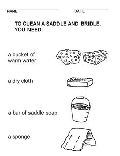 booklet pg 21 - Tack Cleaning tools. The rest of this workbook can be found at; http://www.pinterest.com/HorseInterests/illustrations-handouts/