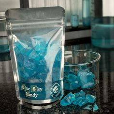 Cooked up in the Firebox lab under strictly controlled conditions, Blue Sky Candy is authentic looking peppermint rock candy inspired by the hit series Breaking Bad. Breaking Bad Party, Serie Breaking Bad, Candy Crystals, Blue Crystals, Gadgets, Tequila, Bad Candy, Rock Candy, Peppermint