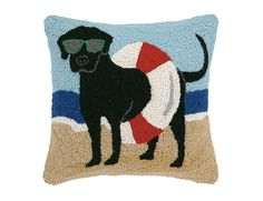 """<p> Great beach dog pillow with beach tube around black lab. Why not add this pillow to your coastal vacation home. Accent your sofa, chair or that relaxing get away spot.<br /> </p> <p> Hook Pillow measures 16"""" X 16"""".</p> <p> Matching cream velvet on the back with a hidden zipper enclosure completes this fun beachy cushion..."""