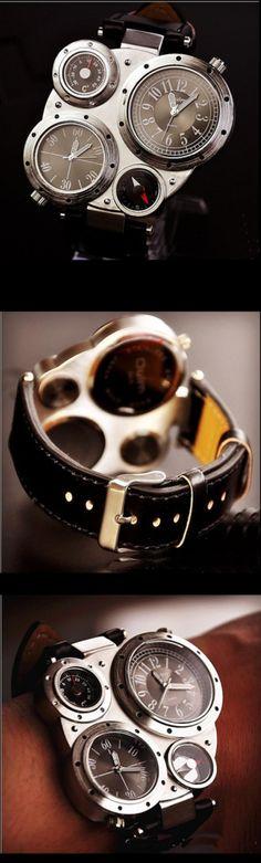 Black Steampunk Mechanical Man Wrist Watch, Vintage Quartz Watches