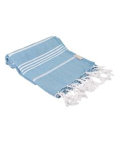 A distinctive shade and fringe trim define the decorative appeal of this soft cotton towel. Cotton Towels, Outdoor Blanket, Fringe Trim, Classic, Turkey, Blue, Products, Derby, Turkey Country