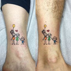 This loving mom and dad got matching family tattoos to represent their whole family. Click through for more tattoo inspiration at CafeMom. #tattoos #tattoodesign #tattooideas