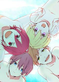 Iwatobi Swim Club ~ Lil' Haruka, Makoto, Nagisa, and Rin Manga Anime, Boys Anime, Anime Art, Chibi, Swimming Anime, Super Anime, Free Eternal Summer, Splash Free, Free Iwatobi Swim Club
