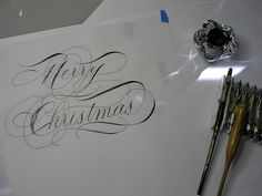 Merry Christmas in Calligraphy via Flickr