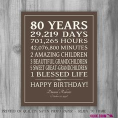 80th BIRTHDAY GIFT Sign Print Personalized Art Mom Dad Grandma Birthday Best Friend Print or Digital Download Keepsake Custom by PrintsbyChristine on Etsy https://www.etsy.com/listing/208005644/80th-birthday-gift-sign-print