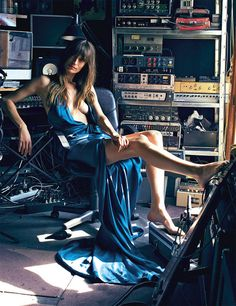 analog not so new gear in a garage ~ Caroline de Maigret, producer and model    #electronicmusic #synthesizer #instruments #electroacoustic #sound #synthesis