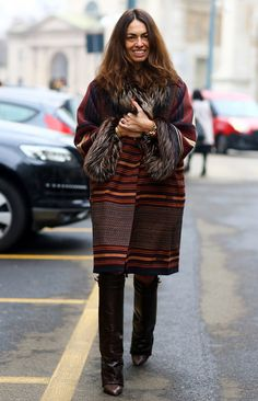 Viviana Volpicella, Brown Coat w/ Furry | Street Fashion | Street Peeper | Global Street Fashion and Street Style