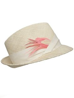 Beautiful fadora hat with feather detail.