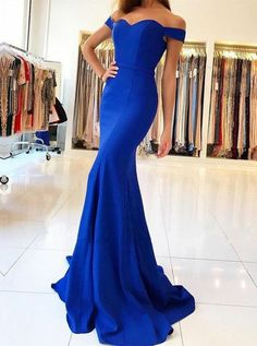 Buy Mermaid Off-the-Shoulder Sweep Train Royal Blue Prom Evening Dress , from  for $243.99 only in Main Website.