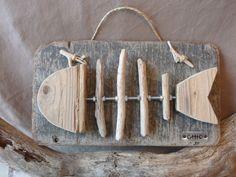 Tableau poisson bois flotté : Décorations murales par c-driftwood
