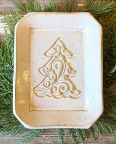 Christmas Tree Soap Dish Handmade Pottery Soap Dish White