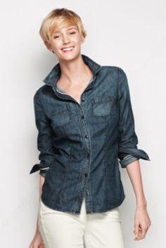 Women's Long Sleeve Denim Shirt from Lands' End $59