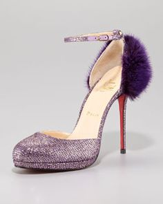"Add some ""fizz"" to your wardrobe! X18DK Christian Louboutin Crazy Fur Glitter Red Sole Pump @dietpepsi"