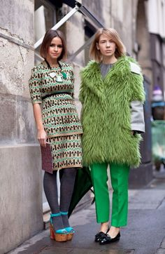 variations of green on the street.