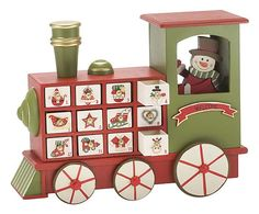 Calendario avvento in legno Locomotiva rosso/verde - 30x10x23 cm