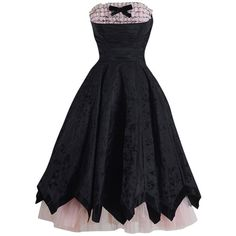 Preowned 1950s Black Pink Flocked Ruffle Trim Cocktail Dress ($325) ❤ liked on Polyvore featuring dresses, short dresses, vintage, pink, chiffon cocktail dress, vintage pink dress, vintage dresses, vintage floral dress and mini dress