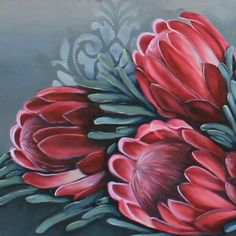 Protea Art, Protea Flower, Plant Painting, Painting Flowers, Flower Crafts, Flower Art, Canvas Painting Tutorials, Polychromos, Flower Pictures