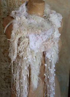 Frozen river shabby chic romantic scarflette from by FleursBoheme