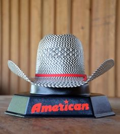 American Hat Black WhiteAmerican Hat Black, White, And Grey Straw Hat $120.95