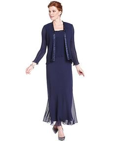 Patra Dress and Jacket, Bead Accent Evening Dress - Womens Mother of the Bride Dresses - Macy's