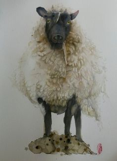 "Saatchi Online Artist: Marie-helene Stokkink; Watercolor 2013 Painting ""Sheep"""