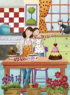 mónica carretero _ making a cake with Mom and kitty watching.