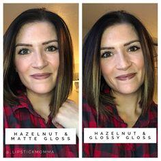 Hazelnut LipSense with Matte & Glossy gloss.  #longwearmakeup #longlastinglipstick #lipsense #smudgeproofmakeup #makeup