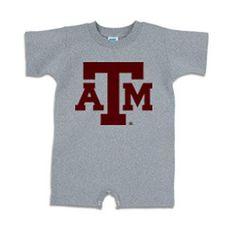 Texas A&M Aggies NCAA Block Logo Gray Infant T-Romper