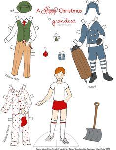 Christmas Boy Paper Dolls, Holiday Paper Dolls,--A Happy Christmas -- Boy Set$2.75