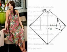 Molde de vestido fácil de fazer. Este modelo de vestido não necessita de molde em papel, porque é muito fácil e intuitivo. Com uma fita métrica meça o teci