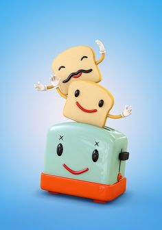 Happy Toaster. 3D character design.