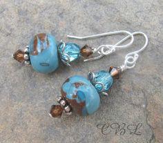 SALE - Aqua & Mocha Polymer Clay and Crystal Earrings | CBl-AND-COMPANY - Jewelry on ArtFire